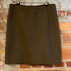 J. Crew olive wool pencil skirt